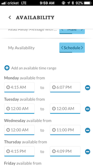 Configuring availability using a schedule