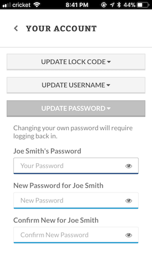 Changing passwords in account settings